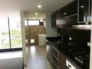 Una cocina con un fregadero y un horno de cocina en Edificio Mirador de la Castellana