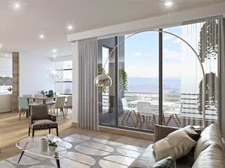 Una sala de estar llena de muebles y una gran ventana en Lumini