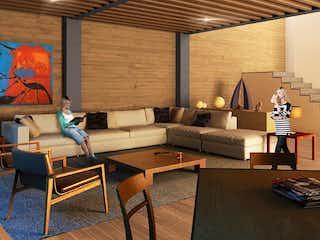 Una sala de estar llena de muebles y una chimenea en Montes Urales 514