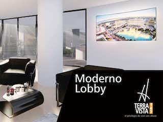 Una foto en blanco y negro de una sala de estar en Terra Vista 147