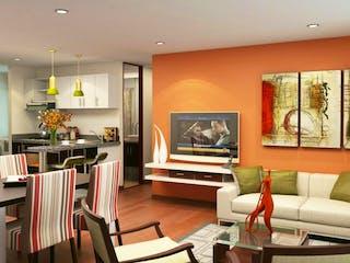 Una sala de estar llena de muebles y una televisión de pantalla plana en Mirador del Campo