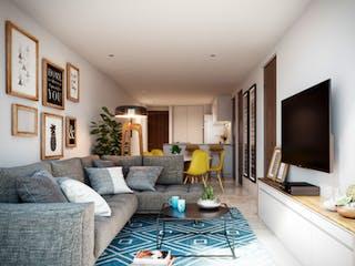Una sala de estar llena de muebles y una televisión de pantalla plana en Lázaro Cárdenas 71