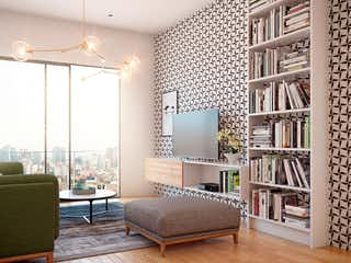 Una sala de estar llena de muebles y una gran ventana en Rosas Moreno 14