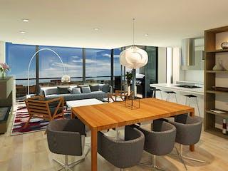 Una sala de estar llena de muebles y un reloj en Edificio Domus