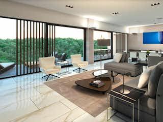 Una sala de estar llena de muebles y una gran ventana en Encinar