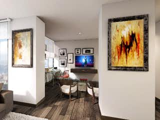 Una sala de estar llena de muebles y una televisión de pantalla plana en Orbba 130