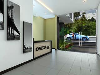 Una vista de un edificio con una señal en la pared en Omega 59