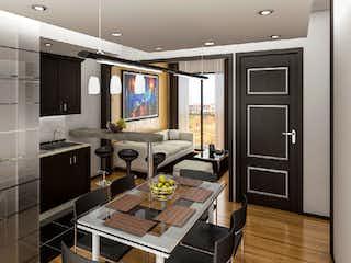 Una cocina con una mesa y sillas en ella en Nesoi