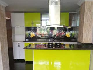 Una cocina verde y blanca con paredes verdes en Apartamento en venta en Suramérica, 115mt con balcon