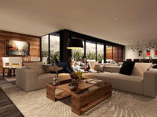 Una sala de estar llena de muebles y una gran ventana en Tres Picos 17
