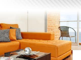 Una sala de estar llena de muebles y una ventana en Vista al Parque del Salitre