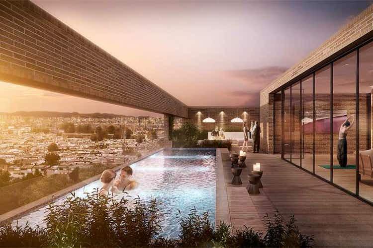 Portada Apartamento En Venta En Bogota Antiguo Country, con piscina en la terraza.