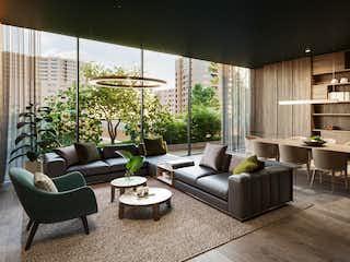Una sala de estar llena de muebles y una gran ventana en Casa Cabrera