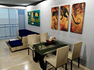 Una sala de estar llena de muebles y una pintura en K52