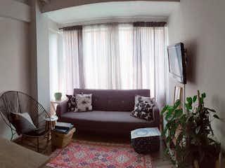 Una sala de estar llena de muebles y una planta en maceta en Apartaestudio en venta en Palmas, 40mt