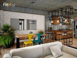 Una sala de estar llena de muebles y una chimenea en Flex Living