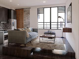 Una sala de estar llena de muebles y una ventana en Ibiza 76