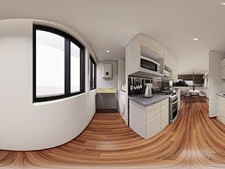 Una gran cocina blanca con un gran ventanal en Coruña 79