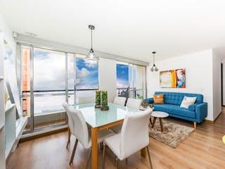 Una sala de estar llena de muebles y una gran ventana en Roble