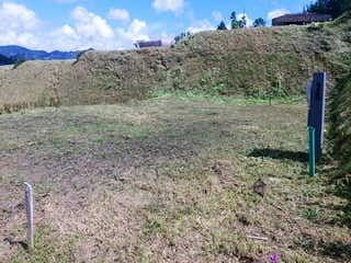 Una vista de un campo herboso con una hidrante de fuego azul en Lote en Venta EL RETIRO