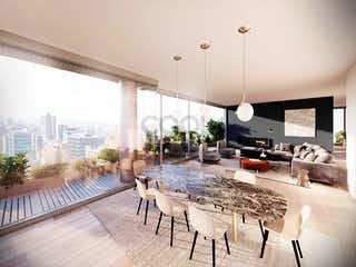 Una sala de estar llena de muebles y una gran ventana en Apartamento en venta rentando en La Cabrera