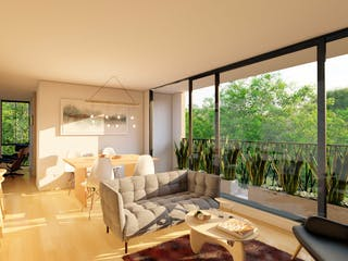 Una sala de estar llena de muebles y una ventana en Tucurinca - Matiz