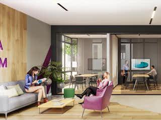 Un grupo de personas sentadas en una sala de estar en Park Living - Vis