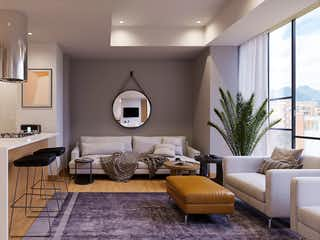 Una sala de estar llena de muebles y una gran ventana en LIVING 122