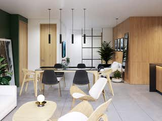 Una sala de estar llena de muebles y una televisión de pantalla plana en Herbívoro