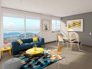 Una sala de estar llena de muebles y una gran ventana en Arandanos Conj. Res.
