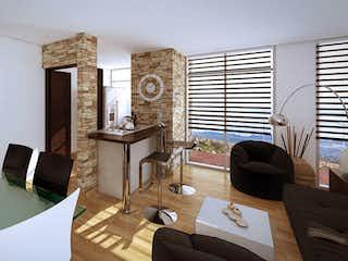 Una sala de estar llena de muebles y un reloj en Quintas de los Andes