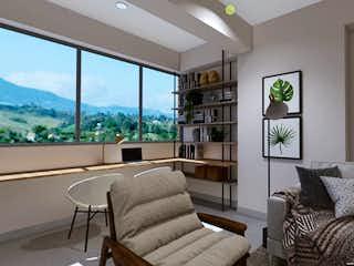 Una sala de estar llena de muebles y una gran ventana en Go Life & Work