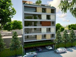 Un autobús de dos pisos estacionado delante de un edificio en DEPARTAMENTO LOMAS DE CHAPULTEC