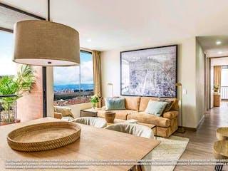 Una sala de estar llena de muebles y una gran ventana en Cedritos 147
