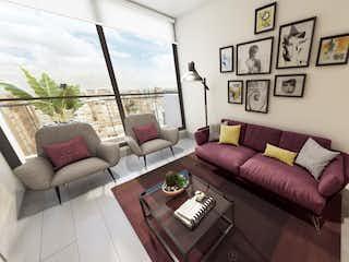 Una sala de estar llena de muebles y una gran ventana en Akai 95