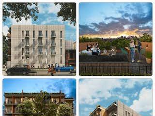 Una serie de fotografías que muestran una calle de la ciudad y un edificio en DEPARTAMENTOS EN VENTA, EN LA COLONIA ÁLAMOS, BENITO JUAREZ, CDMX