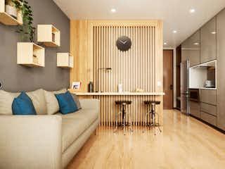 Una sala de estar llena de muebles y un suelo de madera en VOU