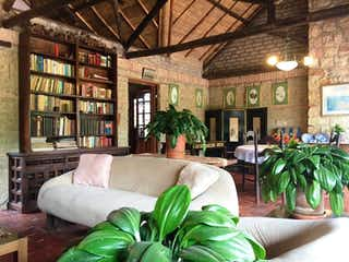 Una sala de estar llena de muebles y una planta en maceta en Finca