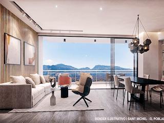 Una sala de estar llena de muebles y una gran ventana en Saint Michel