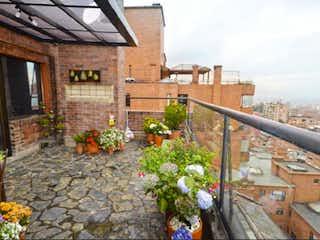 Un edificio de ladrillo con una planta en maceta en Penthouse en venta sector exclusivo de Rosales Bogota