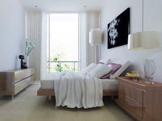 Un dormitorio con una cama y una silla en Xochicalco 432