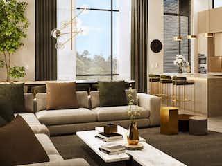 Una sala de estar llena de muebles y una ventana en Torreladera Bosque Res. Aptos. 2