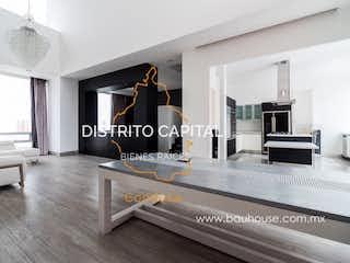 Una sala de estar llena de muebles y una chimenea en Penthouse en Venta en Haus Santa Fe, Cuajimalpa de Morelos, CDMX
