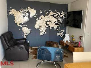 Una sala de estar llena de muebles y una pintura en Kore
