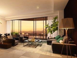 Una sala de estar llena de muebles y una lámpara de araña en Sky Bosque Real