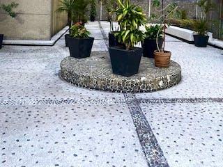 Una planta en maceta sentada delante de un edificio en VENTA DEPARTAMENTO DE 193 M2 EN ACACIAS DEL VALLE