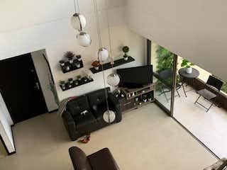 Una foto en blanco y negro de una sala de estar en Apartamento en venta en Zúñiga, de 164mtrs2