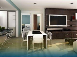Una sala de estar llena de muebles y una televisión de pantalla plana en Select Living Escuadrón 201