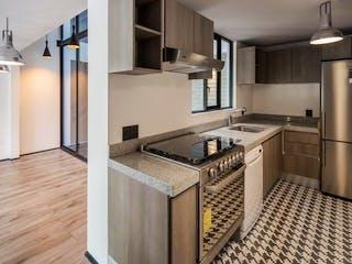 Una cocina con una estufa de fregadero y nevera en Loft en venta en Colonia Del Valle Centro, $4,500,000