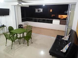 Una sala de estar llena de muebles y una chimenea en Apartamento en venta en Casco Urbano San Jerónimo, de 56mtrs2